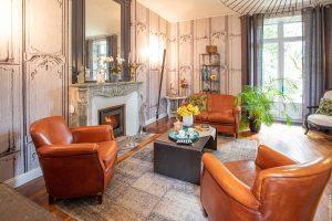 Le salon des hôtes, villa Saint Raphaël